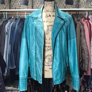 BLANC NOIR Teal Moto Jacket